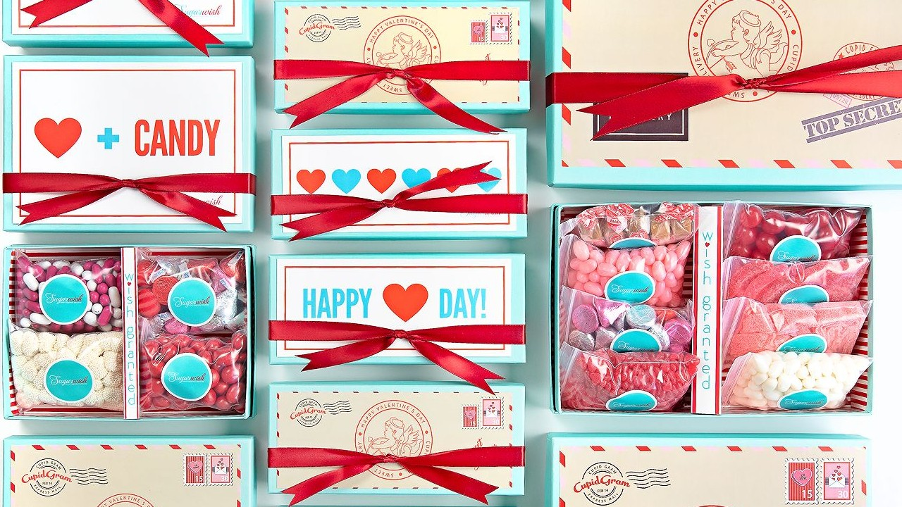 gift sets of candy with Valentine's Day decor
