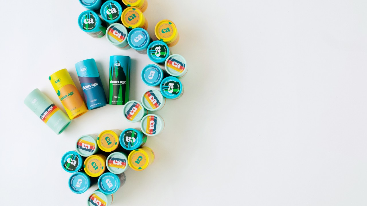 decorative design using cylindrical deodorant containers
