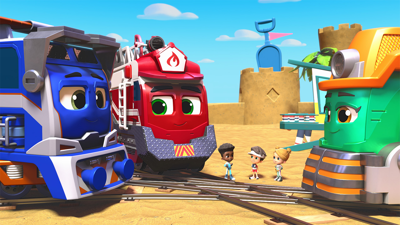 A still from mighty Express showing three animated trains talking to three kids