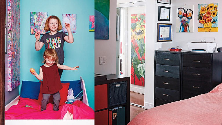 Two photos showing two sisters jumping on a twin bed and a view of the main bedroom