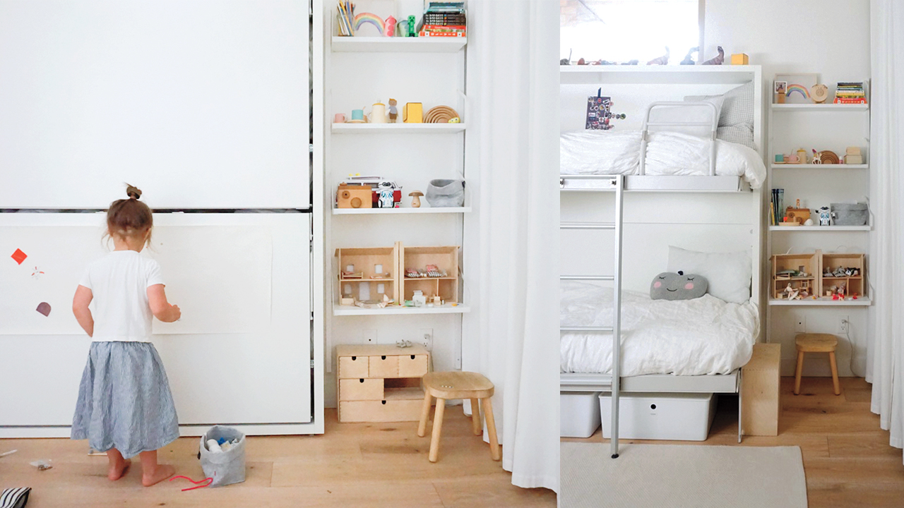 Two photos showing the kids' bedroom with their bunk bed folded up for play and folded out for sleep