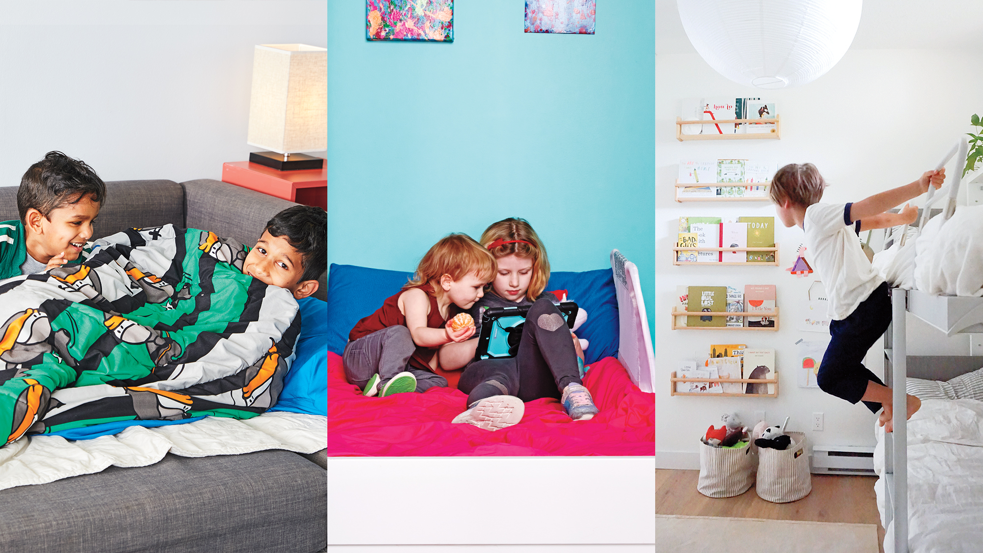 Triptych of photos showing kids living in small space. Far left shows two kids sharing a bed on a pull-out sofa, the centre photo shows two kid playing on a tablet on a single bed, and the far right image shows a kid hanging off the ladder of their bunk bed