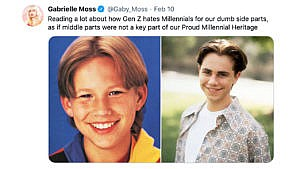 "a tweet that says ""Reading a lot about how Gen Z hates Millennials for our dumb side parts, as if middle parts were not a key part of our Proud Millennial Heritage"" with pictures of young Jontahan Taylor Thomas and young Devon Sawa"