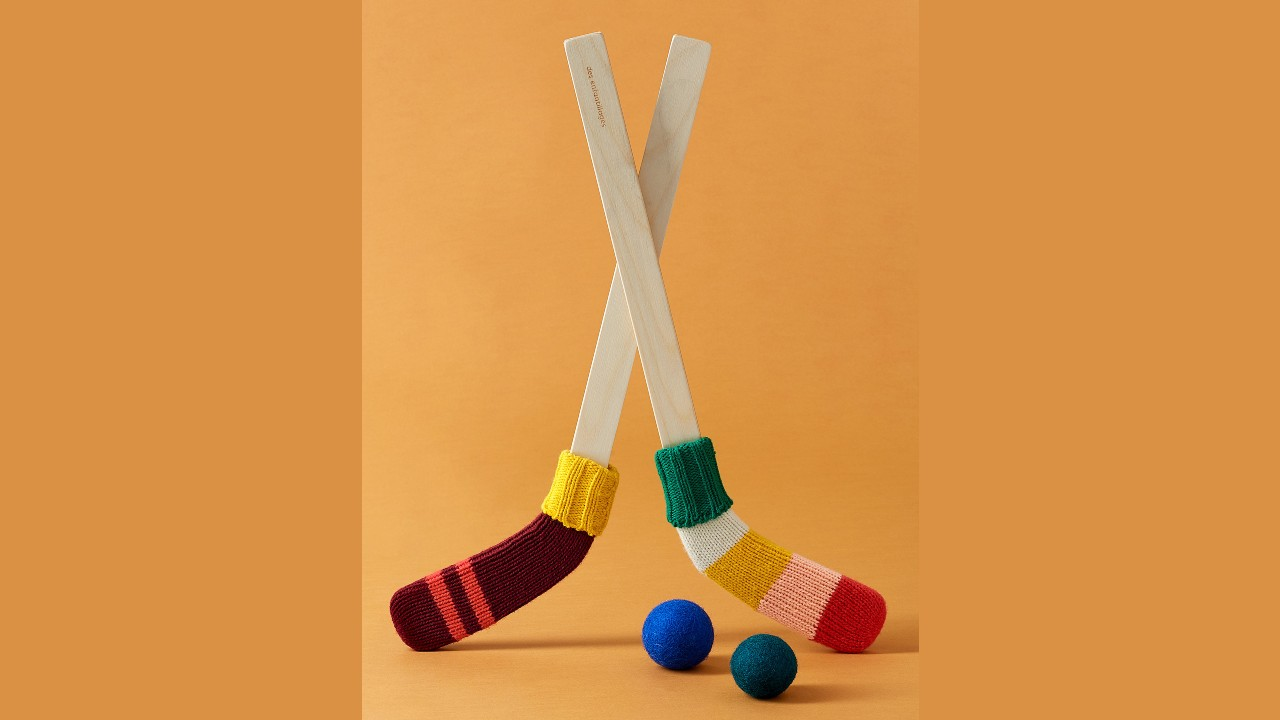 hockey sticks with knit balls
