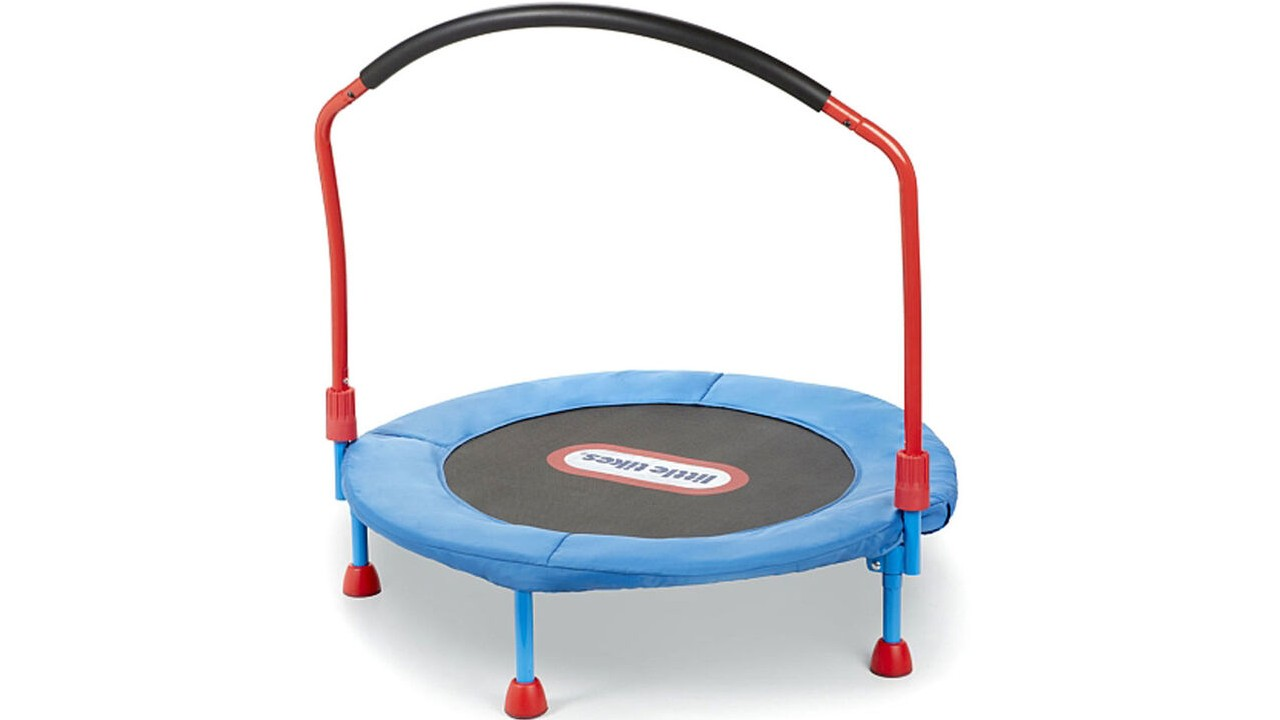 kids trampoline with support bar