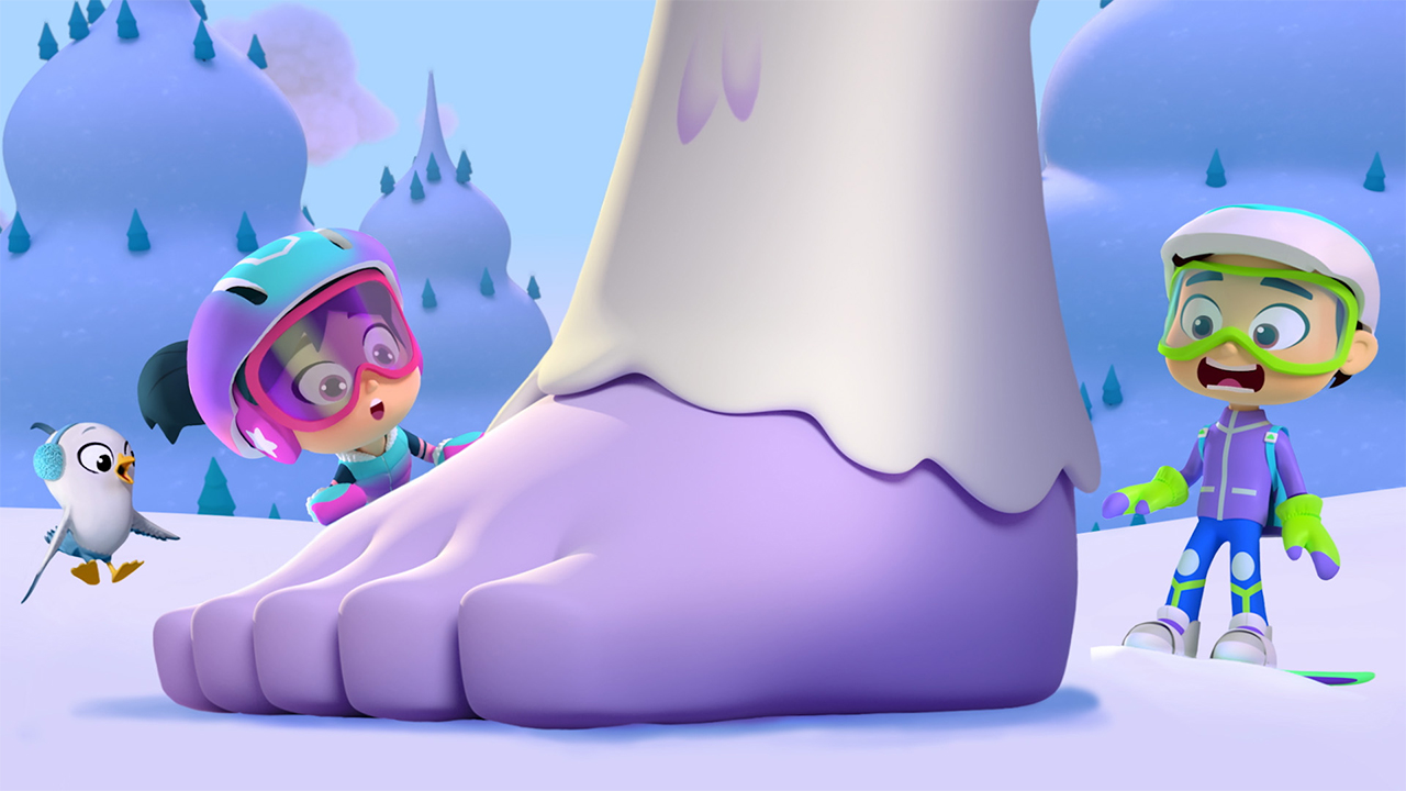 Still from the show Starbeam showing two animated kids looking shocked at a giant foot belonging to a yeti