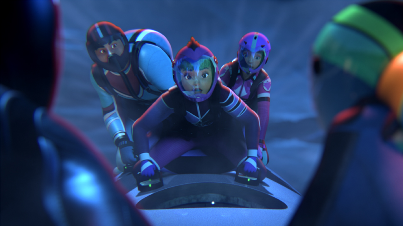 Still from Fast and the Furious Spy Racers showing three Racers prepping for a fight