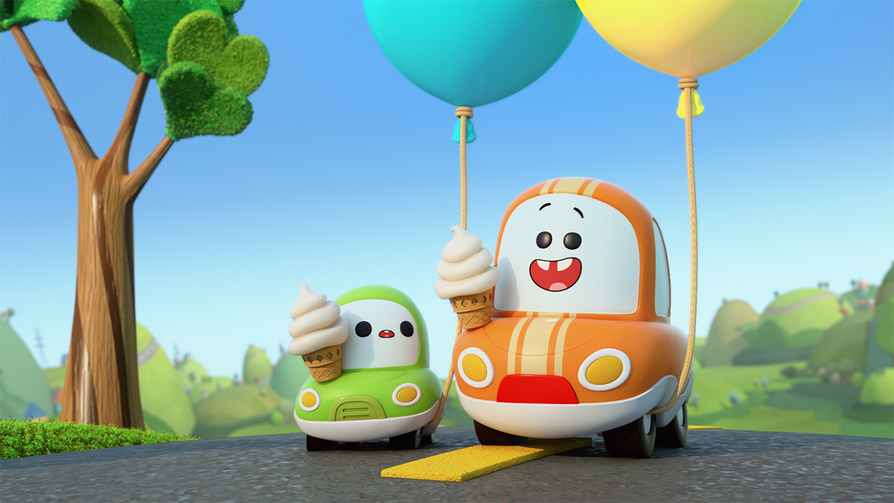 Still from Go! Go! Cory Carson showing two cars holding ice cream cones and balloons