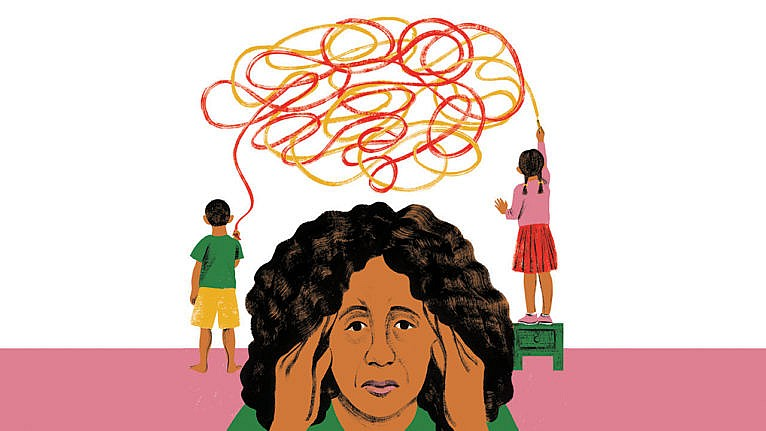 illustration of a mom looking stressed and massaging her temples while her kids scribble all over the wall behind her