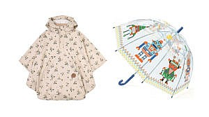 a floral kids poncho and a clear robot umbrella