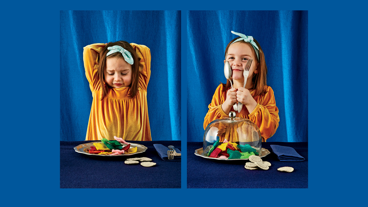 Two photos of a school-aged girl with a plate of felt food looking unsure for a guide to feeding your kids
