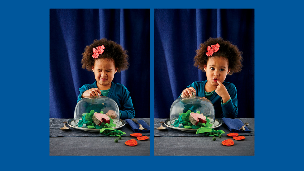 Two photos of a preschooler sitting with a plate of felt food looking disgusted and unsure for a guide to feeding your kids