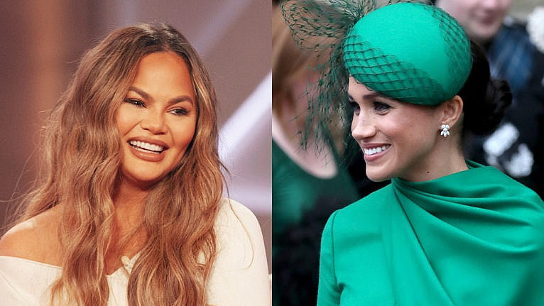 Collage with two photos. On the left is Chrissy Teigen smiling on a talk show, and the right is Meghan Markle at a royal event