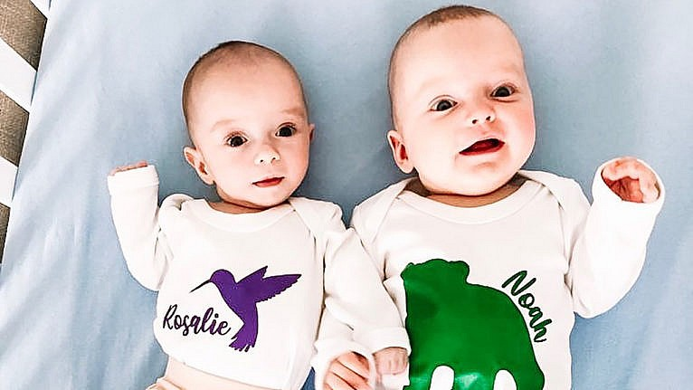 twin babies Rosalie and Noah, who were conceived three weeks apart