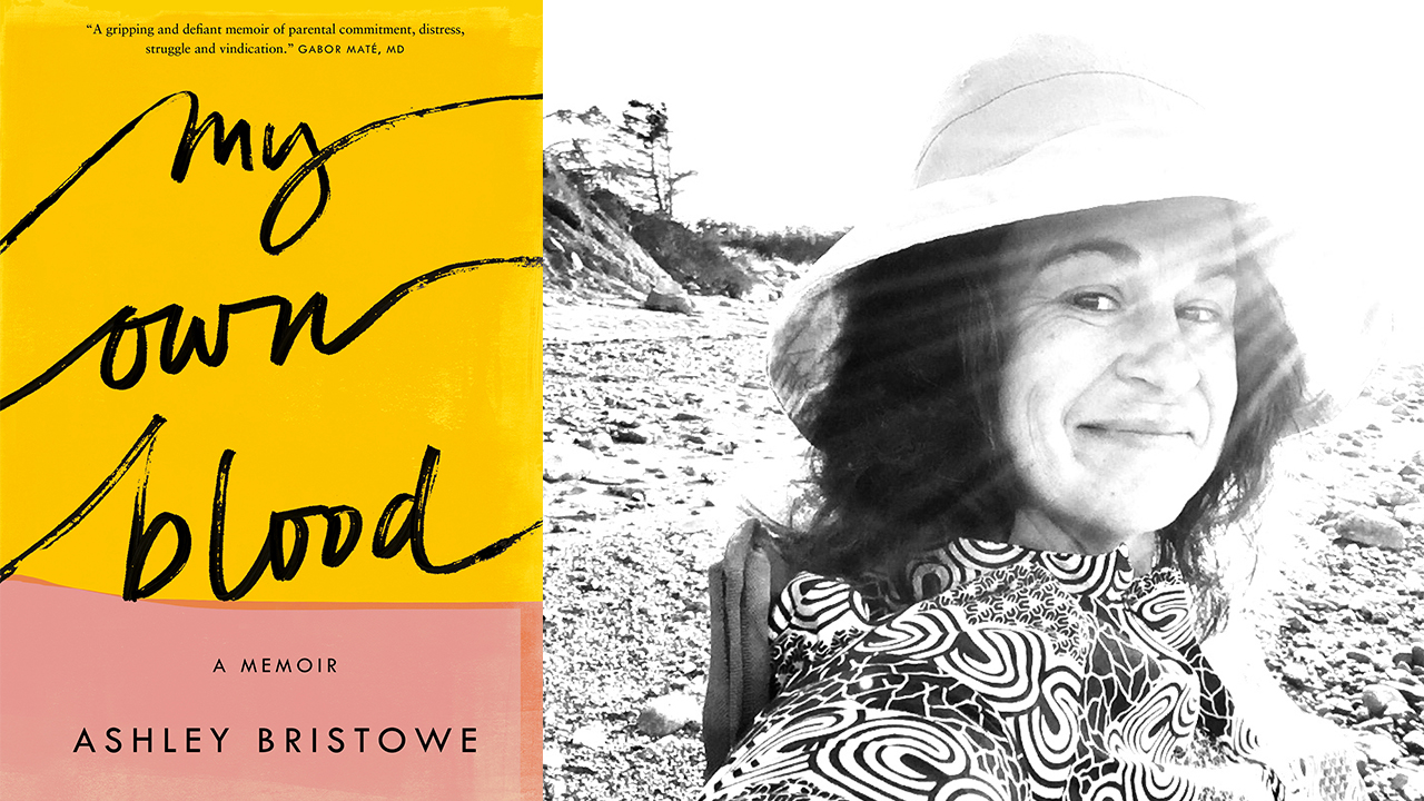 Diptych showing the cover of My Own Blood A Memoir by Ashley Bristowe showing the title in a cursive script over a yellow and pink colorblocked background. second photo is of the author at the beach with sunlight streaming over her face