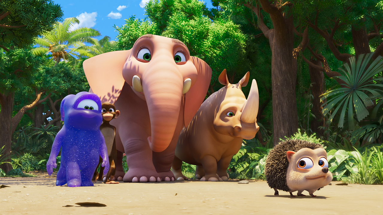 Still from the movie Jungle Beat the Movie showing a hedgehog walking through the forest followed by a rhino, an elephant, a monkey and an alien