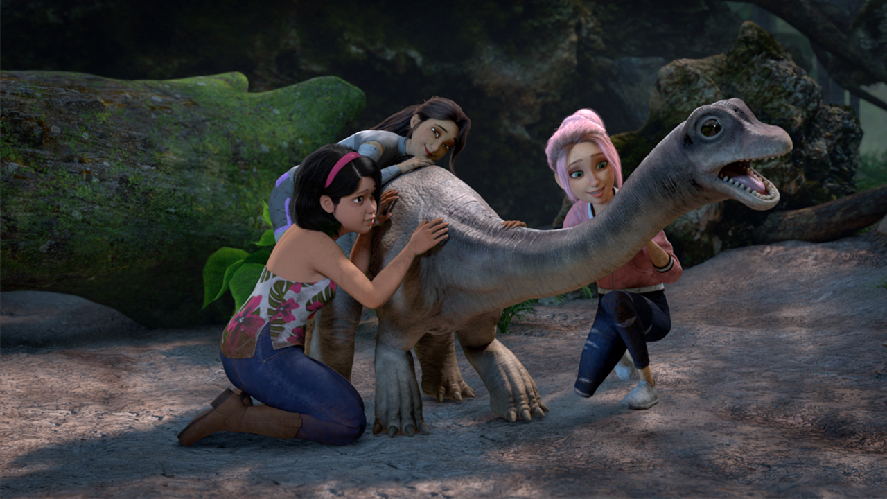 Still from the show Jurassic World Camp Cretaceous showing a group of people caring for a baby dinosaur
