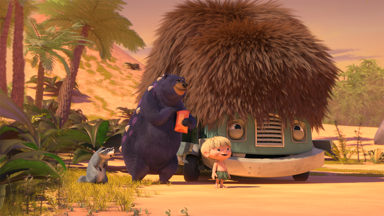 Still from the show Trash Truck showing a raccoon, a bear and a kid standing next to a trash truck wearing a furry hat