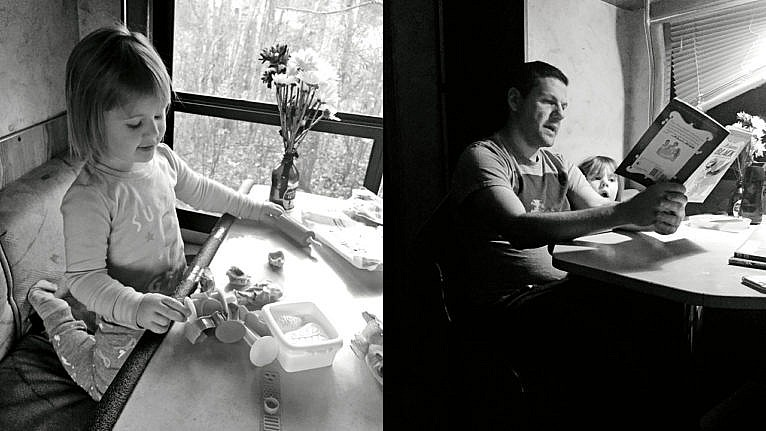 Two photos, the one on the left shows a kid playing at a table in the RV, the photo on the right shows a father and child reading at the same table
