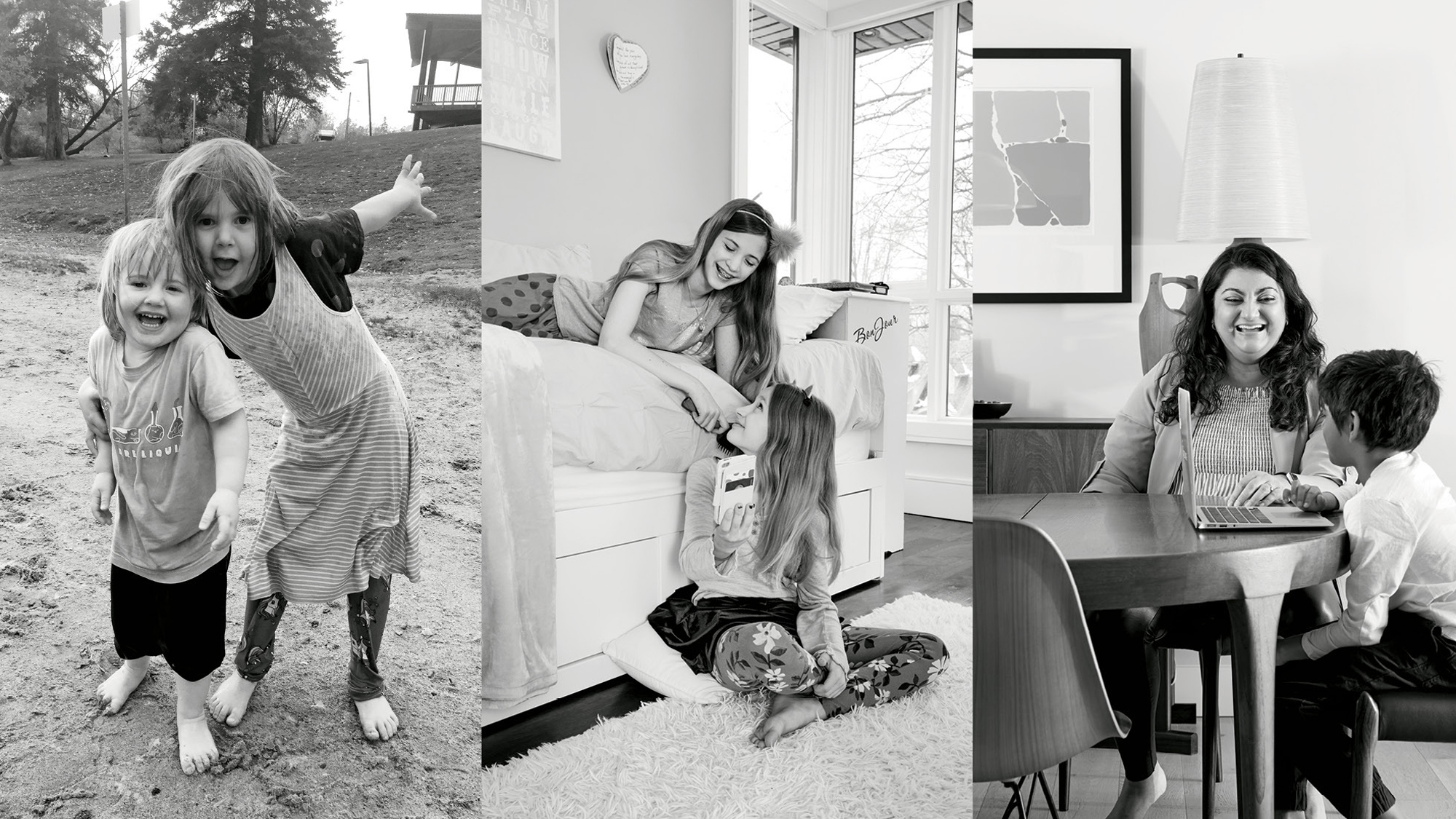 Triptych of photos of families. Photo on the left shows two siblings posing for a picture while playing outside. Photo in the centre shows two siblings talking to each other in a bedroom. The photo on the right shows a mother talking to her child at the dinner table while looking at a laptop.