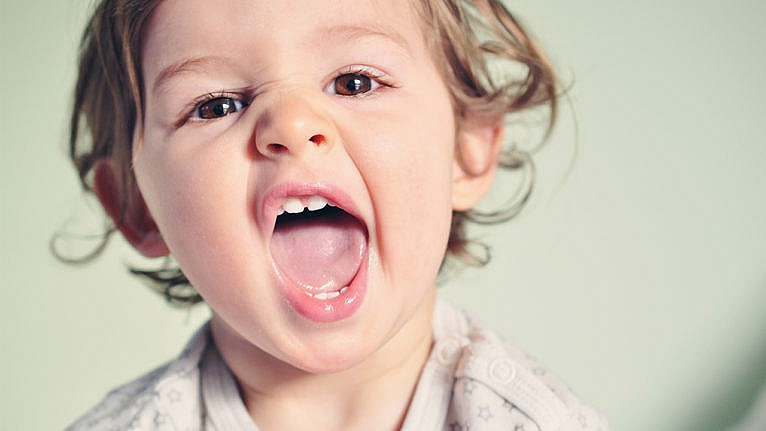 Photo of a toddler with their mouth wide open showing off their teeth