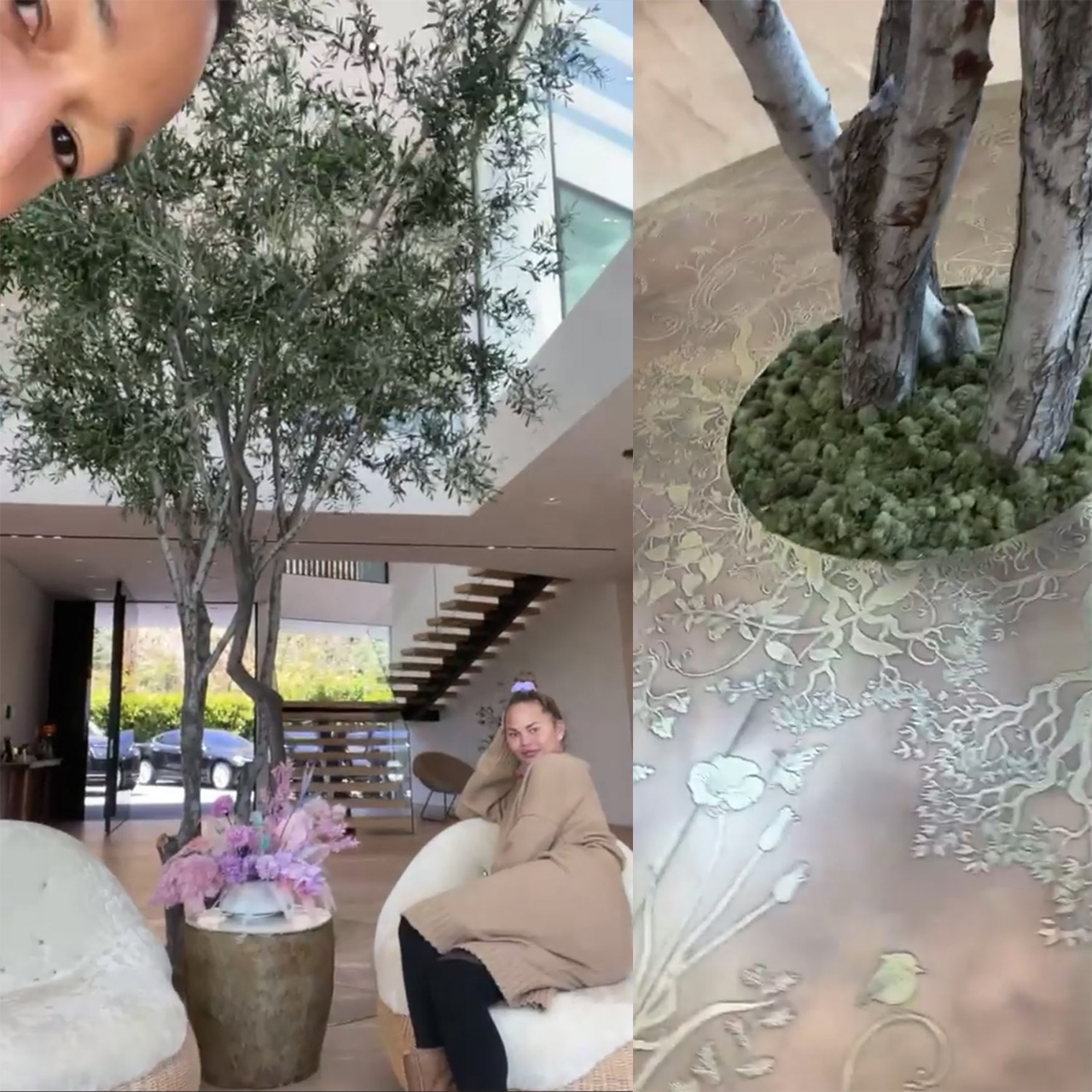 Screenshots from Chrissy's Instragram live where they showed off the tree growing in their house as a tribute to their son Jack.