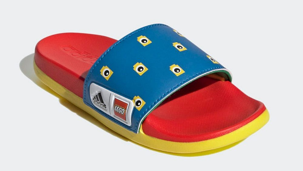 Boys red and blue slide sandal with Lego print