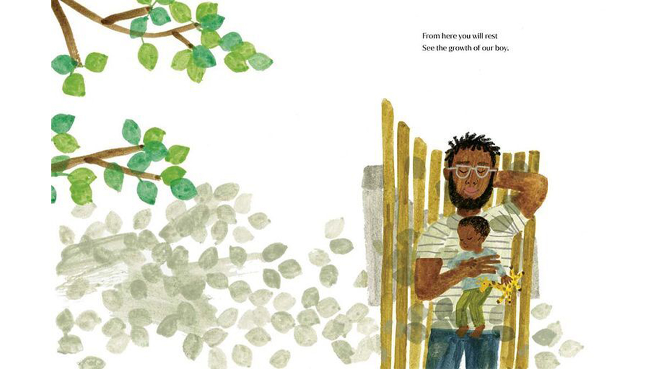 illustration from Meghan Markle's Childrens book showing a dad and baby taking a nap outside