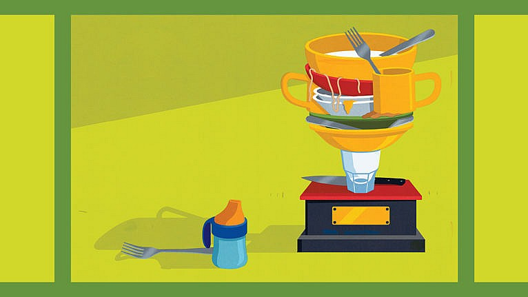 an illustration of a trophy with plates, bowls and other cutlery stacked on top