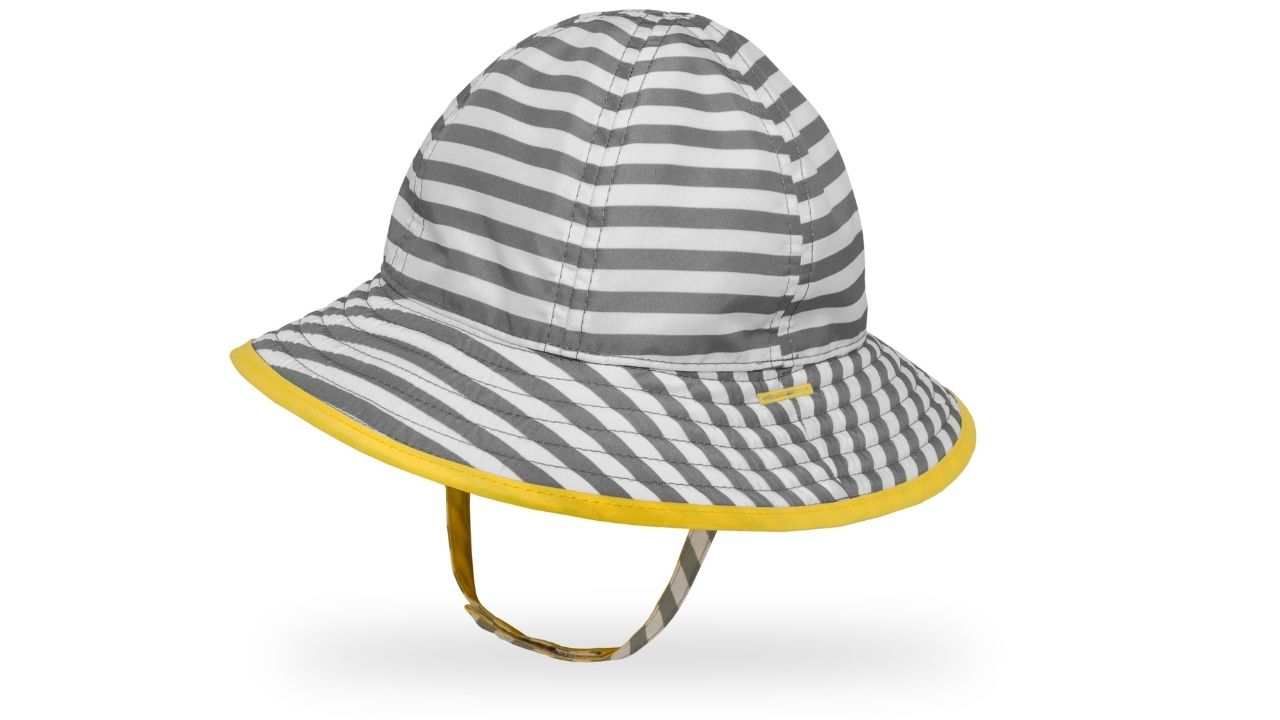 grey and white striped bucket hat with yellow trim