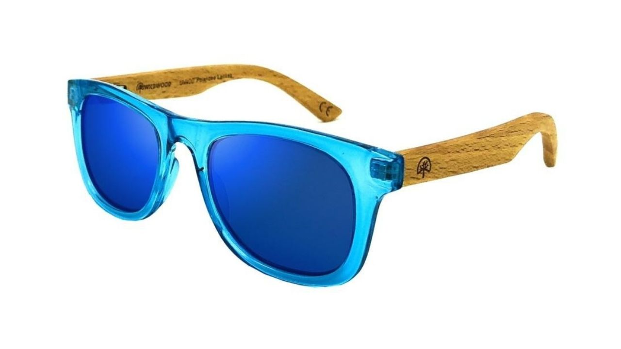 blue kids sunglasses with wood arms