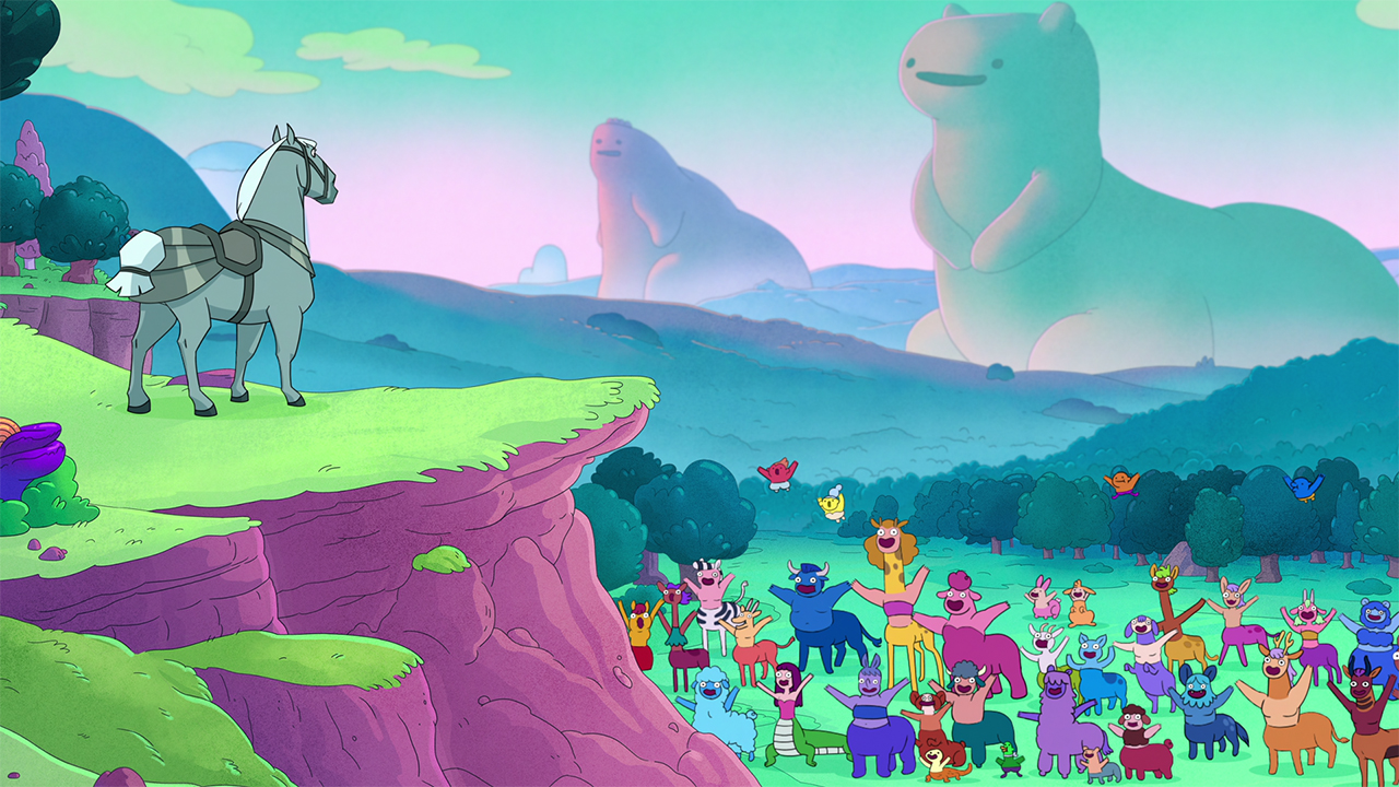A still from Centaurworld showing a horse standing on a cliff looking over a crowd of various centaurs
