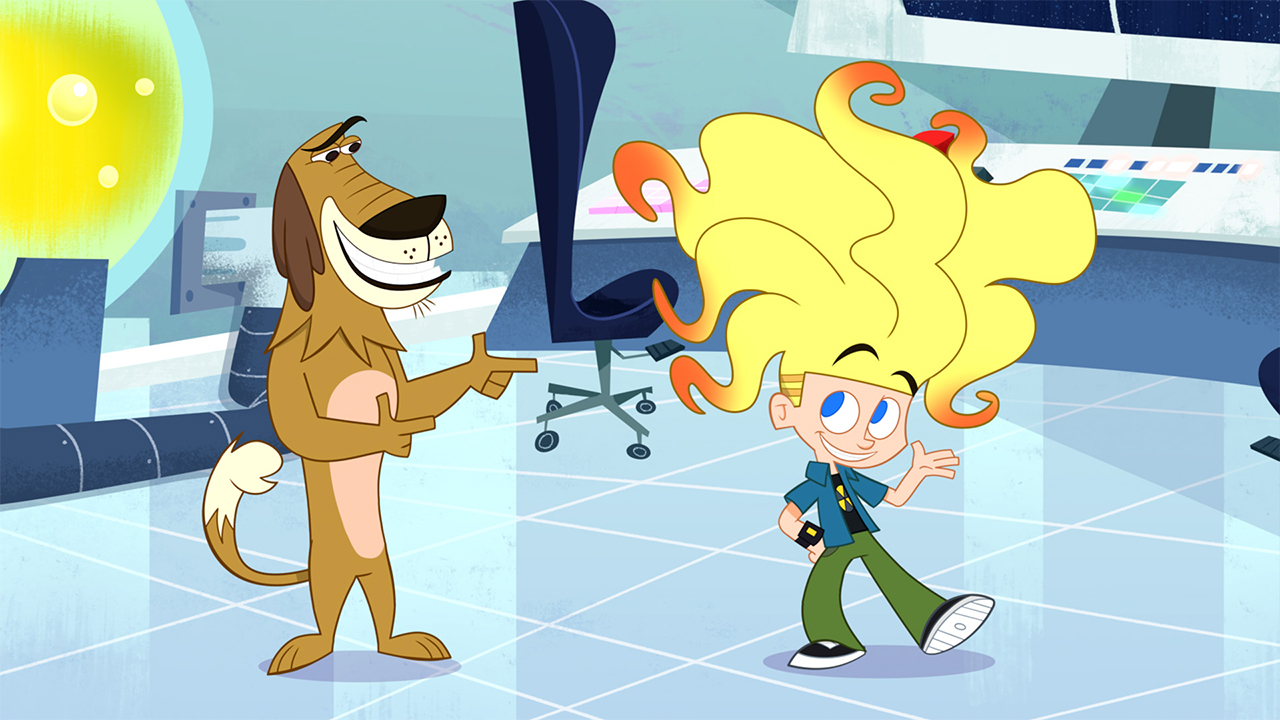 A still from Johnny Test showing a dog pointing at a kid with large voluminous hair while they stand in a laboratory