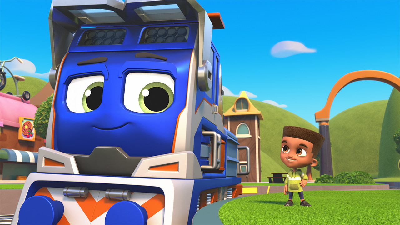 A computer animated still from Mighty Express showing a train talking to a kid