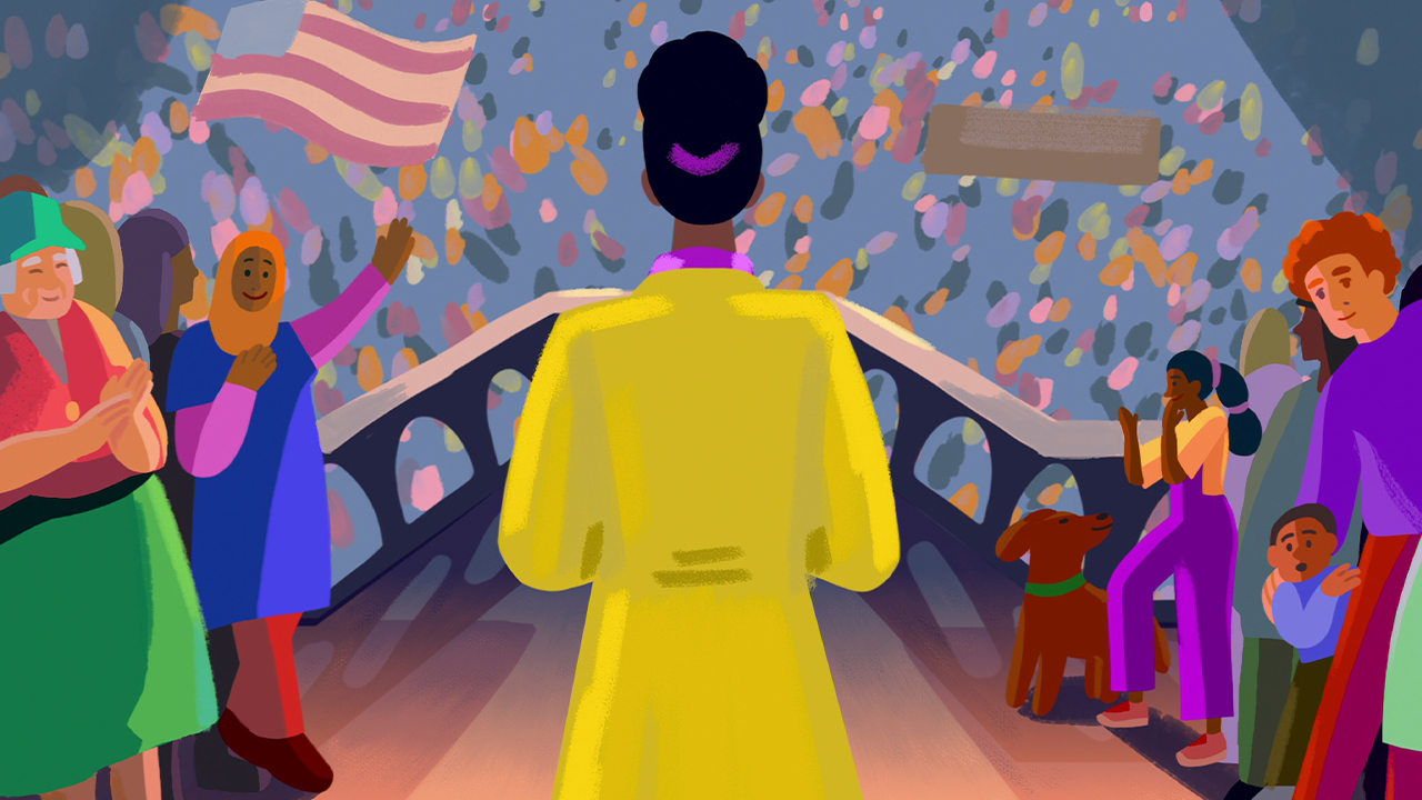 Illustrated still from We The People showing a woman in a yellow coat speaking to a crowd