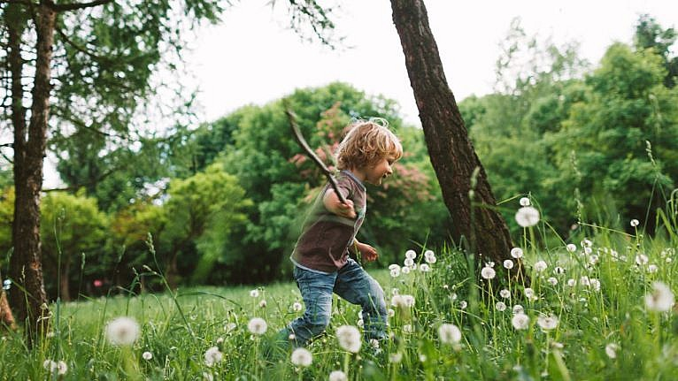 photo of a young kid running through a grassy patch of dandelions holding a stick