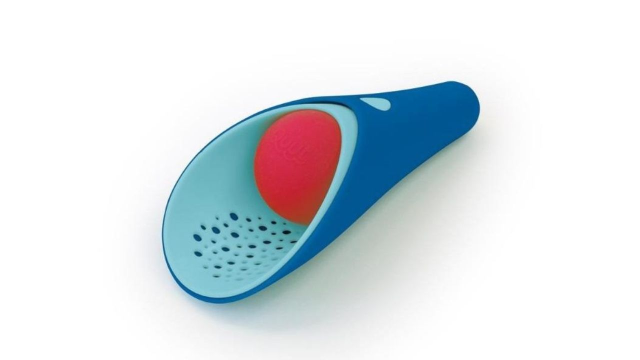 blue cup toy with red ball