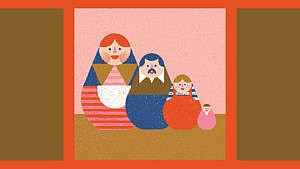 a coloured illustration of four russian dolls depicting a family with two parents and two kids