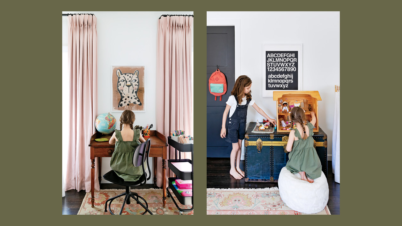 A side by side of young girls in their shared bedroom working at a desk and playing with toys