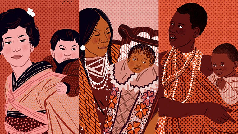 three illustrations of mothers from different cultures carrying their babies